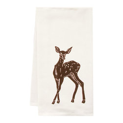 """artgoodies - Organic Deer Towel - This high quality 100% certified organic cotton tea towel was custom made just for artgoodies! Hand printed with one of my original linocut block print images it measures 20""""x28"""" and comes wrapped in a green ribbon made from 100% recycled plastic bottles! Nice and absorbent for drying dishes, looks great when company is over, and makes a great housewarming gift!"""