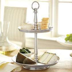 Ballard Designs - Heirloom 2 Tiered Stand - Food safe. Hand wash only. Crafted of cast aluminum. Antique silver finish produces a warm patina. Monogram available. Your secret is safe with us. Each piece in our Heirloom Table Collection recreates the timeworn look of an antique that has been passed down from generation to generation - no one will know the difference. Tiered Stand makes an elegant presentation of sweets and treats for your guests. Heirloom 2-Tiered Stand features: . . . . .