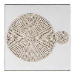 Kathy Kuo Home - Modern Abstract Coastal Beach Unwind Natural Fiber Wall Art - White - Worried about coming undone? Don't. Unwinding is a great thing! This custom-made-to-order framed art is just the thing your home desires to remind you that having a space to come undone is exactly what you need.