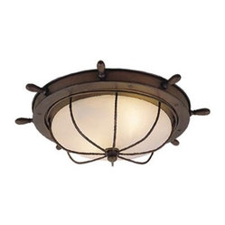 Vaxcel Two-Light Nautical Flush Mount Ceiling Light, Antique Red Copper