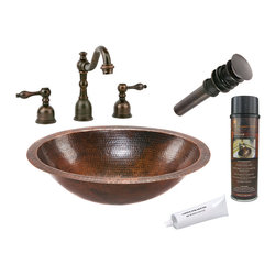 Premier Copper Products - Oval Under Counter Copper Sink w/ ORB Faucet - PACKAGE INCLUDES: