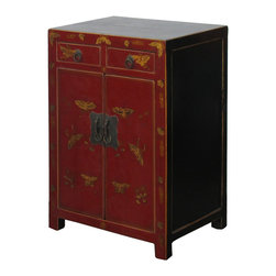 Golden Lotus - Chinese Red Color Butterflies Graphic Night Stand / End Table - This elegant night stand is made of solid elm wood and hand painted with butterflies graphic on the front side.