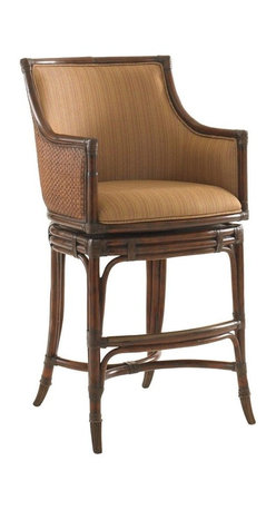 Lexington - Tommy Bahama Home Landara Oceana Swivel Bar Stool - Luxurious woven raffia outside back, with upholstered inside back featured in a woven pattern with highlights of sunset gold and cilantro green, set on a chestnut background. Details like leather strapped carved rattan trim and antique brass finished metal kick plate and ferrules make this piece truly inspiring. Shown in standard fabric, Seabrook, with custom fabric options available. See store for details.