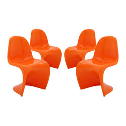 Modway - Modway EEI-1255 Slither Dining Side Chair Set of 4 in Orange - Sleek and sturdy, rock back and forth in comfort with this injection molded marvel. Constructed from a single piece of strong ABS plastic, the �s� shaped Slither chair can be found in many fashionable settings. Perfect for dining areas in need of a little zest, the design is versatile, fun and lively. Surprisingly cushy, choose from a selection of vibrant colors that won't fade over time. Slither is also perfect for spaces short on room.