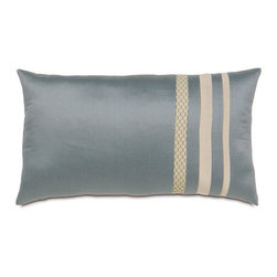Frontgate - Dempsey Bolster Pillow - Stripe - From Eastern Accents. Dry clean only recommended. Because this bedding is specially made to order, please allow 4-6 weeks for delivery.. The Dempsey Bedding Collection is a study of understated complexity. Tailored but relaxed, this collection mixes stripes, organic leafy silhouettes, and a honeycombed textured weave that blend perfectly together in soft shades of smoke, fog, taupe, and slate.  .  . . Made in Italy. Part of the Dempsey Bedding Collection.