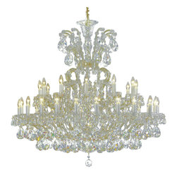 """Inviting Home - Maria Theresa Crystal Chandeliers (Traditional Crystal) - clear and gold Maria Theresa style crystal chandelier; 47"""" x 47""""H (25 lights); assembly required; 25 light traditional clear crystal chandelier with hand-molded arms and cut crystal components and trimmings; all metal parts have gold finish; genuine Czech crystal; * ready to ship in 2 to 3 weeks; * assembly required; This chandelier is a part of Maria Theresa Collection. At their start the chandeliers bearing the name of Maria Theresa were made on the occasion of the Empress's coronation as queen of Bohemia in 1743. This fact is hidden in the shape of these lighting fixtures reminiscent of the royal crown. Their characteristic feature is the arms' typical flat surface clad with glass bars. The bars are fixed to the arms by glass rosettes and beads with dangling cut crystal chandelier trimmings. These ravishing fixtures were inspired by a chandelier made for Maria Theresa in Bohemia in the mid 18th century. However not only the empress became fond of it; so did many others who fancied the style and the majestic manners after her. Typical elements are metal arms overlaid with glass bars and decorated with crystal rosettes. Originally the trimming was made of typical flat drops called """"pendles"""". Today trimmings of various shapes are used. Traditional crystal. Chandelier trimmings cut from lead-free glass are typical of the traditional production in Bohemia stretching back to the former half of the 18th century. Thanks to their look based on tradition and history they satisfy even the most discriminating customers. Lighting fixtures dressed with these trimmings are suitable especially for period interiors. On the other hand they create an exciting counterpoint to austere modern interiors. These trimmings are often used in the production of replicas of historical lighting fixtures. The tradition of production luxurious appearance and classical morphology are the common denominator of all these chan"""