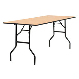 Flash Furniture - Flash Furniture 30 Inch x 72 Inch Rectangular Wood Folding Banquet Table - This wood folding table is very useful since it can be instantly stored and is easy to carry at the same time. This durable table was built for constant use in hotels, banquet rooms, training rooms and seminar settings. Not only is this table durable enough for the everyday rigors of commercial use this table can be used in the home when it comes to setting up your own personal party plans. [YT-WTFT30X72-TBL-GG]