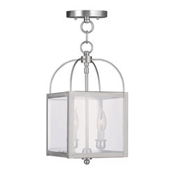 Joshua Marshal - Brushed Nickel Foyer Hall Semi-Flush Mount - Brushed Nickel Foyer Hall Semi-Flush Mount