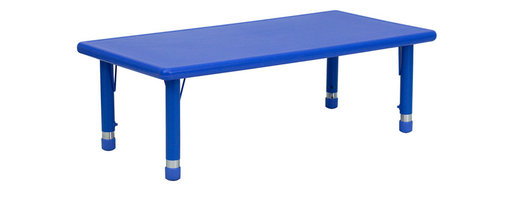 Flash Furniture - Flash Furniture 24 x 48 Height Adjustable Rectangular Plastic Activity Table - Kids activity tables are excellent for early childhood development. The primary colors make learning and play time exciting when several colors are arranged in the classroom. This durable table features a plastic top with steel welding underneath along with adjustable steel legs that is sure to last throughout the years. [YU-YCX-001-2-RECT-TBL-BLUE-GG]