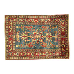 Manhattan Rugs - New Unique Blue/Red Tribal Kazak 3'x4' Hand Knotted Veg Dyed Wool Area Rug H3728 - Kazak (Kazakh, Kasak, Gazakh, Qazax). The most used spelling today is Qazax but rug people use Kazak so I generally do as well.The areas known as Kazakstan, Chechenya and Shirvan respectively are situated north of Iran and Afghanistan and to the east of the Caspian sea and are all new Soviet republics. These rugs are woven by settled Armenians as well as nomadic Kurds, Georgians, Azerbaijanis and Lurs.  Many of the people of Turkoman origin fled to Pakistan when the Russians invaded Afghanistan and most of the rugs are woven close to Peshawar on the Afghan-Pakistan border.  There are many design influences and consequently a large variety of motifs of various medallions, diamonds, latch-hooked zig-zags and other geometric shapes. However, it is the wonderful colors used with rich reds, blues, yellows and greens which make them stand out from other rugs. The ability of the Caucasian weaver to use dramatic colors and patterns is unequalled in the rug weaving world. Very hard-wearing rugs as well as being very collectable.