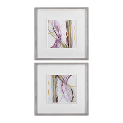 Uttermost - Honeysuckle Rose Modern Art Set of 2 - If you're a fan of less is more, then this set of delicate strokes of pale pink, purple and green will capture your fancy. Created by artist, Grace Feyock, the prints are double matted and framed with a silver leaf finish. Sophisticated modern art for your home.