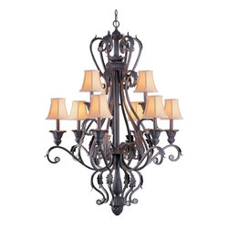 Crystorama - Wrought Iron Nine Light Chandelier - Winslow Collection offers traditional flare, whether in Dark Rust of Champagne finish. Winslow Collection comes with Ivory Shades, and optional Crystal Clear beads & Smooth Oyster accents.