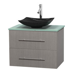 """Wyndham Collection - Centra 30"""" Grey Oak Single Vanity, Green Glass Top, Arista Black Granite Sink - Simplicity and elegance combine in the perfect lines of the Centra vanity by the Wyndham Collection. If cutting-edge contemporary design is your style then the Centra vanity is for you - modern, chic and built to last a lifetime. Available with green glass, pure white man-made stone, ivory marble or white carrera marble counters, with stunning vessel or undermount sink(s) and matching mirror(s). Featuring soft close door hinges, drawer glides, and meticulously finished with brushed chrome hardware. The attention to detail on this beautiful vanity is second to none."""