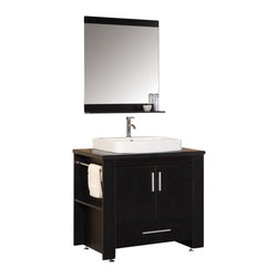 "Design Element - Design Element Washington Espresso Modern Single Vessel Sink Vanity Set - 36"" - The Washington 36"" vanity set is stylishly constructed of solid plywood panels with veneer laminate. The hybrid vessel drop-in sinks and sleek cabinetry bring style and utility to any bathroom. The sink's white rectangular round-corner design beautifully contrasts with the cabinet's sleek lines and espresso finish. This vanity includes soft-closing cabinet doors and a large drawer at the bottom of the vanity, all adorned with satin nickel hardware. An espresso-framed mirror with shelf also comes with your purchase."