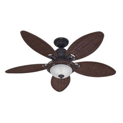 Hunter Fan - Hunter 54-inch Caribbean Breeze Fan - This Hunter 54-inch Carribean Breeze fan has five antique dark wicker blades. A WhisperWind Motor,installer's choice three-position mounting system and an integrated 120-watt wicker bowl light fixture are further features.