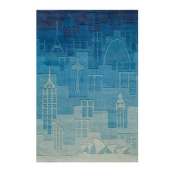 Blue Polyester Hand Tufted Urban Landscape City Rug, 5' X 7' - The ultimate, urban city rug!