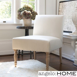 "angelo:HOME - Bradstreet Marzipan Slipper Chair - Features: -Upholstery materials: 58% Polyester, 37% leather chips and 5% polyurethane.-Transitional style.-Renu leather fabric is very durable, comfortable and a breathable fabric that feels and looks like top grain leather.-Seating comfort: Medium.-Gently tapered back and legs give the chair an elegant feel.-Plush foam and webbing to give support and cushioning.-Attached seat and back cushions.-Perfect for the living room, dining room or office decor, the scale of this chair coordinates well in any room environment.-Break it back down to recycle at the end of use for additional piece of mind.-Upholstered in creamy ivory renu leather.-Frame construction: Mixed hardwood.-Eco-friendly and efficient product design uses less fossil fuel based components in construction and delivery.-Turned wood legs with distressed antique finish.-Collection: Bradstreet.-Distressed: Yes.-Chair Design: Slipper Chair.-Frame Finish: Cream.-Wood Tone: Light.-Upholstered: Yes -Upholstery Color: Cream.-Upholstery Material: Fabric; Leather.-Cushion or Upholstery Fill Material: Foam; Fiberfill.-Pattern: Solid..-Hardware Finish: Zinc plated.-Powder Coated Finish: No.-Gloss Finish: No.-Frame Material: Mixed hardwood.-Hardware Material: Zinc.-Solid Wood Construction: No.-Number of Items Included: 1.-Non-Toxic: Yes.-Water Resistant: No.-Fire Resistant: No.-Scratch Resistant: No.-Stain Resistant: No.-Fade Resistant: No.-UV Resistant: No.-Seating Comfort: Medium.-Removable Seat Cushion: No.-Removable Back Cushion: No.-Reversible Cushions: No.-Removable Cushion Cover: No.-Welt on Cushions: Yes.-Tufted Cushions: No.-Slipcovered: No.-Skirted: No.-Ottoman Available: No.-Ottoman Included: No.-Toss Pillows Included: No.-Adjustable Height: No.-Adjustable Headrest: No.-Convertible Positions: No.-Style: Transitional.-Rocker: No.-Swivel: No.-Stackable: No.-Foldable: No.-Arms Included: No.-Removable Legs: Yes.-Leg Material: Wood.-Leg Finish: Antique.-Casters: No.-Nailhead Trim: No.-Hand Painted: No.-Outdoor Use: No.-Weight Capacity: 300 lbs.-Swatch Available: Yes.-Commercial Use: No.-Recycled Content: No.-Eco-Friendly: No.-Product Care: Spot clean with cold water and mild soap.Specifications: -FSC Certified: No.-ISTA 3A Certified: Yes.-Green Guard Certified: No.-ISO 9000 Certified: No.-ISO 14000 Certified: No.Dimensions: -Overall Product Weight: 20.94 lbs.-Overall Height - Top to Bottom: 32.5"".-Overall Width - Side to Side: 26"".-Overall Depth - Front to Back: 28.5"".-Seat Height - Top to Bottom: 18.5"".-Seat Width - Side to Side: 26"".-Seat Depth - Front to Back: 22"".-Legs: -Leg Width - Side to Side: 2.31"".-Leg Depth - Front to Back: 2.31""..Assembly: -Assembly Required: Yes.-Tools Needed: Allen wrench.-Additional Parts Required: No.Warranty: -Manufacturer provides 1 year warranty against defects in workmanship and materials.-Product Warranty: 1 Year."