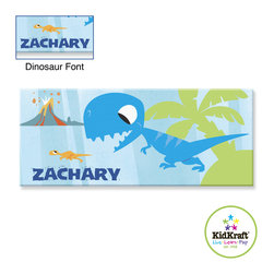"""Kidkraft - Kidkraft Kids Blue Dinosaur Canvas 10""""x24"""" Canvas Photo Frame - This Photo Frame Can be personalized with any name up to 9 characters in length. All lower case, Font, color and graphic art only as shown, Hardware for hanging is included."""