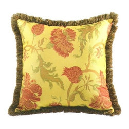 "CCCC-P-1015 - Sussex Floral Pattern Print 20"" x 20"" Throw Pillow with Brush Fringe Trim - Sussex floral pattern print 20"" x 20"" throw pillow with brush fringe trim. Measures 20"" x 20"" made with a blown in foam and also available with feather down inserts at additional costs, search for down insert upgrade to add the up charge to your order. These are custom made in the U.S.A and take 4- 6 weeks lead time for production."