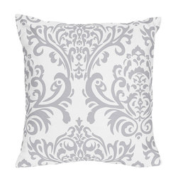 Sweet Jojo Designs - Sweet Jojo Designs Lavender and Grey Elizabeth Decorative Accent Throw Pillow - Bring style and fashion into your home with this beautiful and unique decorative accent throw pillow. This reversible damask print/grey decorative throw pillow is both stylish and practical.