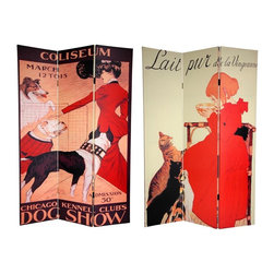 Oriental Unlimted - Double Sided 6 ft. Dogs & Cats Canvas Privacy - One double-sided divider, both sides shown in image. Bring out your inner animal lover with this splendid room divider featuring turn of the century commercial poster art. The image on the front is from prolific art nouveau artist Th̩ophile Alexandre Steinlen featuring 1 of his favorite subjects: Cats. The back side of this screen is graced by a poster for the 1901 Chicago Kennel Club Dog Show, painted the acclaimed American animal artist George Ford Morris. These wonderful, stylish graphic art prints from by gone eras provide unique, urbane interior design elements perfect for your living room, bedroom, dining room or kitchen. This 3 panel screen has different images on each side. High quality wood and fabric covered room divider. Well constructed, extra durable, kiln dried Spruce wood frame panels, covered top to bottom, front, back and edges. With tough stretched poly-cotton blend canvas. 2 Extra large, beautiful art prints - printed with fade resistant, high color saturation ink, creating 2 stunning, long lasting, vivid images, powerful visual focal points for any room. Amazingly inexpensive, practical, portable, decorative accessory. Almost entirely opaque, double layer of canvas, providing complete privacy. Easily block light from a bedroom window or doorway. Great home decor accent - for dividing a space, redirecting foot traffic, hiding unsightly areas or equipment, or for providing a background for plants or sculptures, or use to define a cozy, attractive spot for table and chairs in a larger room. Assembly required. 15.75 in. W x 70.88 in. H (each panel)