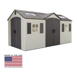 Lifetime - Lifetime 15 x 8 ft. Storage Shed Multicolor - 60079 - Shop for Sheds and Storage from Hayneedle.com! Even the most enthusiastic gardener will find a spot for everything in the Lifetime 15 x 8 ft. Storage Shed from Lifetime Sheds. Constructed with powder-coated steel frames and steel-reinforced dual-wall polyethylene panels this shed is built to handle the most extreme weather conditions. The floor is constructed of slip-resistant dual-wall polyethylene and will keep moisture away from your valuables. This large shed features two double doors so you can get to anything easily and features five A-frame roof support tresses for sturdy construction. Doors feature full-length galvanized steel pin hinges high-impact handles with metal latches and internal spring latch mechanisms. There are two exterior padlock loops with two deadbolts on the interior or left door. Locks are not included. Other features of this shed include six small skylights two large skylights and two shatterproof polycarbonate windows. There will be no shortage of natural light here. Two screened vents allow for adequate ventilation. To help you store and organize your tools this shed also features two peg strips one shelf four corner shelves and one tool corral. Dimensions Exterior: 180W x 96D x 96H in. Footprint: 178W x 94D in. Eave depth: 2 in. Fascia height: 1.25 in. Roof pitch: 6:12 Door openings: 56W x 76H in. Window openings: 16.5W x 16.5H in. Interior: 174W x 90D in. Interior min height: 70 in. Interior max height: 94 in. Interior headroom (truss to floor): 80 in. Square feet: 108.75 Shelf: 90W x 9D in. Corner shelves: 9.5-inch radius About Lifetime ProductsOne of the largest manufacturers of blow-molded polyethylene folding tables and chairs and portable residential basketball equipment Lifetime Products also manufactures outdoor storage sheds utility trailers and lawn and garden items. Founded in 1972 by Barry Mower Lifetime Products operates out of Clearfield Utah and continues to apply innovation and cutting-edge technology in plastics and metals to create a family of affordable lifestyle products that feature superior strength and durability.
