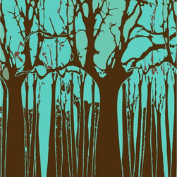 Murals Your Way - Trees - Blue & Brown Wall Art - Painted by Estela Lugo, the Trees - Blue & Brown wall mural from Murals Your Way will add a distinctive touch to any room