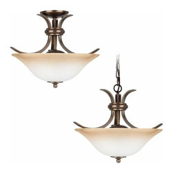Sea Gull Lighting - 2-Light Semi-Flush Russet Bronze - 75360-829 Sea Gull Lighting Rialto 2-Light Semi-Flush Convertible Pendant with a Russet Bronze Finish