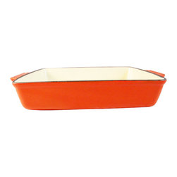 Le Chef Cookware - Le Chef Enamel Cast Iron Orange Rectangular Roasting Dish, 4 Qt. - Le Chef® porcelain nameled coating cast iron roasting dish is cast from molten iron in individual sand molds. LeChef roasters feature wide shallow shapes to allow maximum exposure of the food to the heat source. The wide, shallow shape of these pieces exposes the maximum surface area of the food to the heat source, whether it be all around heat in the oven, under the broiler or even on the stovetop. It also comes equipped with matching side loop handles. The excellent heat retention reduces the amount of energy needed for roasting. In addition the hard and glossy porcelain enameled surface is chip resistant and easy to clean. Hygienic porcelain enamel is non-reactive with food. Although dishwasher safe, hand washing with warm soapy water is recommended to preserve the cookware's original appearance.