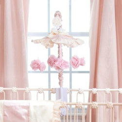 Glenna Jean - Glenna Jean Ava Musical Mobile - Soothe your baby to sleep with this adorable and elegant musical mobile. Coordinating perfectly with the Glenna Jean Ava Crib Bedding Collection, this mobile features four pretty pink flowers that hang from a pink and white ruffled top.