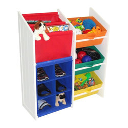 """River Ridge - Kids Super Storage w 3 Primary Color Bins, Book Holder & 6 Slot Cubby - Two slot slanted book/magazine holder also holds coloring books, toys, stuffed animals... Large capacity bins for storing toys, games, art/craft supplies, clothes and more!. Each cubby slot is 6.5""""w x 5.5""""h. Material: Painted MDF Wood Composite, Non-Woven Poly Fabric . Color: White. 11 in. L x 29.625 in. W x 35 in. H (26 lbs)This classic design storage cabinet includes 3 folding storage bins,  a two slot slanted book/magazine holder and  a 6 slot cubby to hold shoes, toys, stuffed animals, and more. Use it in the kids room, play room, family room, entryway or bathroom."""
