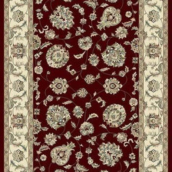 "Dynamic Rugs - Dynamic Rugs Ancient Garden 57365-1464 (Red, Ivory) 6'7"" x 9'6"" Rug - Turn of the Century Persian patterns are skill fully recreated in this exciting and sophisticated collection. The antique shades from sun-washed colors are blended softly with today's fashion of low contrast patterns with field colors of champagne, dusted blue, soft greens, creme, malt and a luxurious black or ruby red. Woven with DECOLAN, a wool-like fine heat-set polypropylene fibre at nearly a million points per square meter to achieve a fine pencil point finish and design clarity."