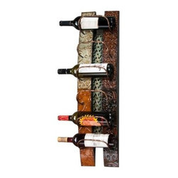 Southern Enterprises Adriano 6 Bottle Wall Mount Metal Wine Rack - The Southern Enterprises Adriano 6 Bottle Wall Mount Metal Wine Rack by Southern Enterprises holds up to 6 bottles of your favorite wine. Duals as an artistic piece along with the fuction of housing your wine bottles. Handcrafted metal in multicoor ear tones. Natural color variations may occur. Imagine your delight when guests comment on such a beautiful piece. Overall dimensions: 8.75W x 7D x 33.25H inches. About SEI (Southern Enterprises Inc.)This item is manufactured by Southern Enterprises or SEI. Southern Enterprises is a wholesale furniture accessory import company based in Dallas Texas. Founded in 1976 SEI offers innovative designs exceptional customer service and fast shipping from its main Dallas location. It provides quality products ranging from dinettes to home office and more. SEI is constantly evolving processes to ensure that you receive top-quality furniture with easy-to-follow instruction sheets. SEI stands behind its products and service with utmost confidence.
