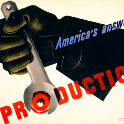 Production, America's Answer! Print - Production, America's Answer! by Jean Carlu for the United States Office for Emergency Management, Division of information in 1941.