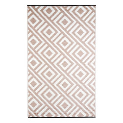 b.b.begonia - RV/Camping/Patio Mat/Area Rug Malibu: Beige and White Reversible Pattern, 9x12 - A classic and one of our more popular designs, the beige pattern on the white ground is inspired by the integrity and unpretentious style of centuries old. Soft on your feet, this mat can be placed under the awning of your RV. It is a stylish way to decorate your camping /RV set up. Reversible pattern between front and back sides, allows you to sometimes alter the look. The outdoor rug is made from highest grade of UV coated polypropylene material for weather and fade resistance. There is Heavy-duty piping on two sides with reinforced corners and stake loops (stakes not included). The rug is Easy to Clean. The yarn does not absorb dirt or stains. Leaves, mud or food spills are easily rinsed away with water and soap making it Carefree and Weather proof. The rugs do not trap water, so they won't mildew. The tubular yarn is breathable and hence the mat will not kill the grass it is sitting on. The multipurpose mat can fold up small and flat, comes with a carry bag making it compact to carry on trips. Also a great solution for the patio, tailgate parties, beach, boating, by the pool, on the deck and picnics.