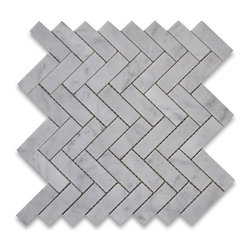 "Stone Center Corp - Carrara Marble Herringbone Mosaic Tile 1 x 3 Polished - Carrara White Marble 1x3"" pieces mounted on 12x12"" sturdy mesh tile sheet"