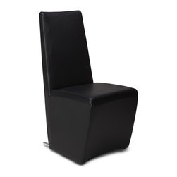 Zuri Furniture - Boston High Back Modern Dining Chair - Black - Create a classic statement with the sophisticated Boston modern dining chair. Its formal vertical seat back is designed for comfort and visual appeal. The Boston is beautifully finished with high quality leatherette for easy cleaning and unique stainless steel base. Available in brown, White or black.