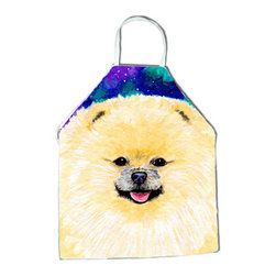 Caroline's Treasures - Pomeranian Apron SS8997APRON - Apron, Bib Style, 27 in H x 31 in W; 100 percent  Ultra Spun Poly, White, braided nylon tie straps, sewn cloth neckband. These bib style aprons are not just for cooking - they are also great for cleaning, gardening, art projects, and other activities, too!