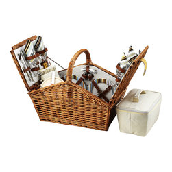 Picnic At Ascot - Huntsman Picnic Basket for Four, Wicker W/Santa Cruz - The Huntsman Picnic Basket has a traditional style.  Hand crafted using full reed willow, this generously sized basket is made to last.  Easy to pack, carry, and enjoy, it includes quality components including ceramic plates and glass wine glasses.  Includes: (4) ceramic plates, glass wine glasses, stainless flatware, cotton napkins, (1) food cooler, insulated wine pouch, hardwood cutting board, spill proof salt & pepper shakers, wood handle cheese knife, stainless waiters corkscrew. Natural Willow with leather straps, closure,  & hinge covers. Lifetime Warranty.