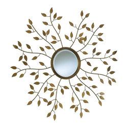 Cyan Design - Cyan Design 01849 Golden Leaf Round Mirror - Cyan Design 01849 Golden Leaf Round Mirror
