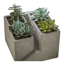 Architectural plant pot - This cement architectural planter is unique and a great tabletop accent. Plant succulents or miniature foliage to make it more interesting. Makes a great gift.