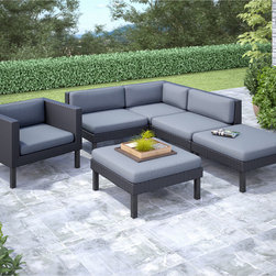 CorLiving - CorLiving Oakland 6-piece Sectional with Chaise Lounge and Chair Patio Set - Made with UV resistant resin rattan wicker,water repellent cushions and a durable steel frame,this six-piece set is versatile in arrangement and style with black and dove grey coloration.