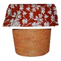 """Designerliners - Red Toile Waste Basket Bags   Decorative - Reusable - Biodegradable - 12 Pack - Designerliners decorative waste basket bags enhance any room in your home that has a waste basket. Designerliners come packed """"inside out"""" such that when placed inside a waste basket, the design shows on the inside of the container and then flows over the outer lip to form a beautiful outer border. Designerliners are made in the USA from strong 1 mil thick biodegradable plastic. Red Toile Designerliners measure 24 x 24 inches. Available in 12-packs."""