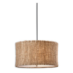 Burleson Hanging Shade Pendant - A light need not be gilded or embellished or overly ornate to illumine the beauty of its surroundings, as evinced by the Burleson Hanging Shade. The light's artful yet rustic design boasts a drum shade composed of natural twine presented in an open weave construction that allows a whisper of the warm beige inner liner to show through. The frosted glass diffuser adds to the softened lucency