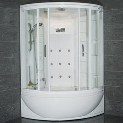 "Atlas International - Ariel ZAA212 Steam Shower with Whirlpool Bathtub - These fully loaded steam showers include a whirlpool bathtub, massage jets, and built in FM Radio for Easy Listening s to help increase your therapeutic experience.; ETL listed (US & Canada electrical safety) 110v; Computer control panel w/ timer for easy use; Steam sauna w/ thermostatic control; 24 Acupressure Body Jets for Massage Therapy 6 Whirlpool Massage Jets; Handheld and Rainfall Showerhead for Ultimate Experience; Thermostatic faucet; Temperature setting/display; FM Radio for Easy Listening , external CD/MP3 player connection; Ventilation fan; Ceiling light; Dimensions: 56""L x 56""W x 87""H"