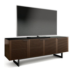 BDI - Corridor Media Center, Chocolate Stained Walnut - The Corridor Media Center by BDI lets you support your TV, house your media and accessories, and hide any unseemly mess and cables. Four louvered doors hide three cabinets with adjustable shelves, giving you plenty of space to store anything from speakers or a stereo to BluRay discs and DVDs. The doors' design allows the passage of sound and remote control signals while still keeping your things out of sight.