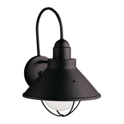Kichler - Kichler Seaside Outdoor Wall Mount Light Fixture in Black (Painted) - Shown in picture: Outdoor Wall 1Lt in Black (Painted)