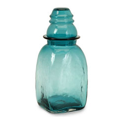Insulator Large Glass Canister - Keep essential items visible and within reach in this large aqua glass lidded canister. Food safe.