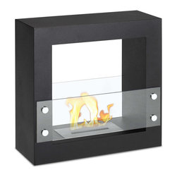 "Ignis Products - Tectum Mini Black Freestanding Ventless Ethanol Fireplace - Bring your room to life with the addition of this modern Tectum Mini Black Freestanding Ventless Ethanol Fireplace. This freestanding ethanol fireplace is ventless, and it requires no chimney, no gas line, and no electric line. It offers clean-burning heat that will keep your warm and cozy for hours with just one refill. Its sleek black design fits in well in your modern decor and keeps the look streamlined and contemporary. This mini fireplace takes up very little room, yet puts out a lot of heat, helping you create a welcoming environment for family and guests. It puts out an approximate 6,000 BTUs of clean-burning heat without any mess or fuss. Dimensions: 23.5"" x 23.5"" x 9"". Features: Ventless - no chimney, no gas or electric lines required. Easy or no maintenance required. Freestanding - can be placed anywhere in your home (indoors & outdoors). Capacity: 1.5 Liters. Approximate burn time - 5 hour per refill. Approximate BTU output - 6000."