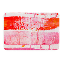 "KESS InHouse - Iris Lehnhardt ""Coral Paint Wash"" Pink Red Memory Foam Bath Mat (24"" x 36"") - These super absorbent bath mats will add comfort and style to your bathroom. These memory foam mats will feel like you are in a spa every time you step out of the shower. Available in two sizes, 17"" x 24"" and 24"" x 36"", with a .5"" thickness and non skid backing, these will fit every style of bathroom. Add comfort like never before in front of your vanity, sink, bathtub, shower or even laundry room. Machine wash cold, gentle cycle, tumble dry low or lay flat to dry. Printed on single side."